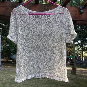 Ann Taylor LOFT Lace Like Top - Large